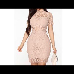 Graceful Woman Lace Mini Dress - Nude S